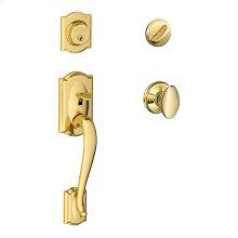 Camelot Single Cylinder Handleset and Siena Knob - Bright Brass