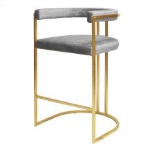 Barrel Back Gold Leaf Bar Height Stool In Gray Velvet