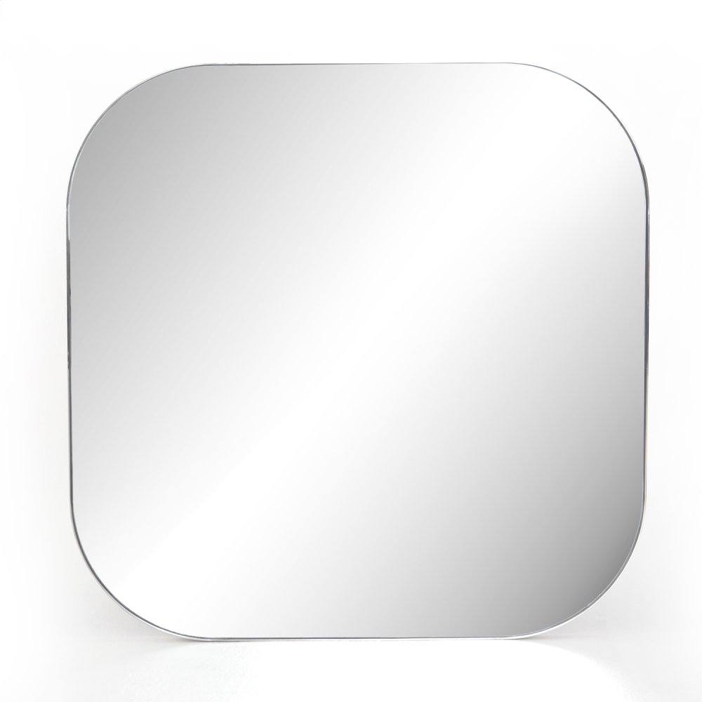 Shiny Steel Finish Bellvue Square Mirror