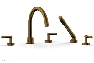 TRANSITION 1 Deck Tub Set with Hand Shower - Lever Handles 120-49 - French Brass Product Image