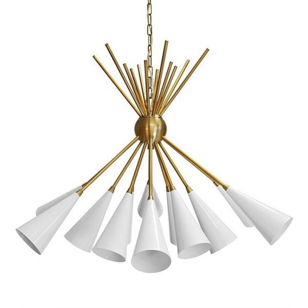 Twelve Light Cluster Chandelier In Antique Brass With Matte White Shade