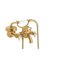 Brushed Brass 2-handle bath mixer for exposed installation with cross handles