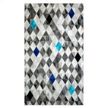 Anchor your living room seating group or define space in the den with this lovely hair on hide leather rug, featuring a monochromatic gray harlequin pattern with pops of ocean and sapphire blue. Variations in shades and pile direction are a common charact
